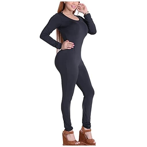 Chicfor Womens Autumn Winter One Piece Unitard Full Bodysuit Crewneck Long Sleeve Catsuit Skinny Jumpsuit Lingerie Romper