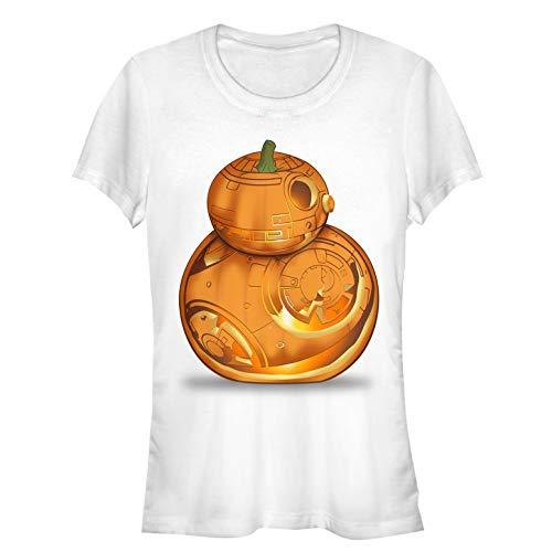 Star Wars The Force Awakens Juniors' Halloween BB-8 Pumpkin White T-Shirt -