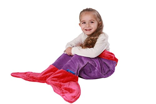 [ENFY Toddler Mermaid Tail Blanket - Super Soft and Warm Minky Fabric Blanket Perfect Gift for Toddlers Ages 1-4 (Dark Purple & Hot] (Sea Siren Mermaid Costumes)