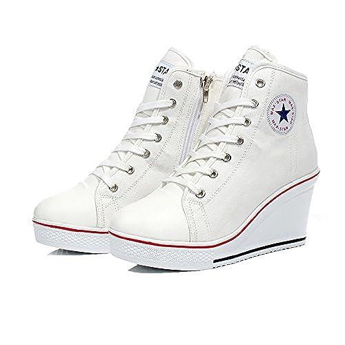 712234eda4322 70%OFF Leeminus Canvas High-Heeled Fashion Sneaker Pump Shoes ...