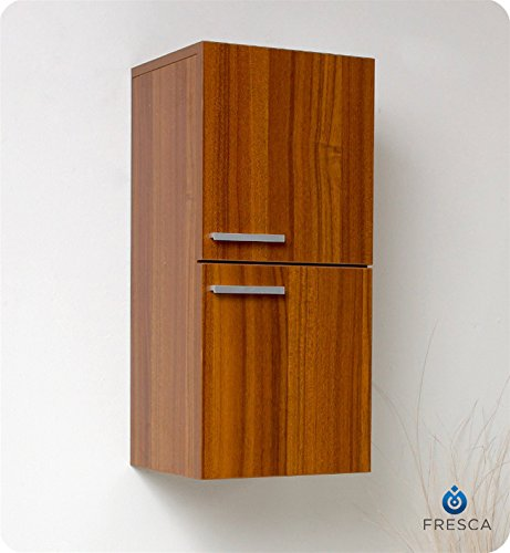 Fresca Bath FST8091TK Bathroom Linen Side Cabinet with 2 Storage Area, Teak