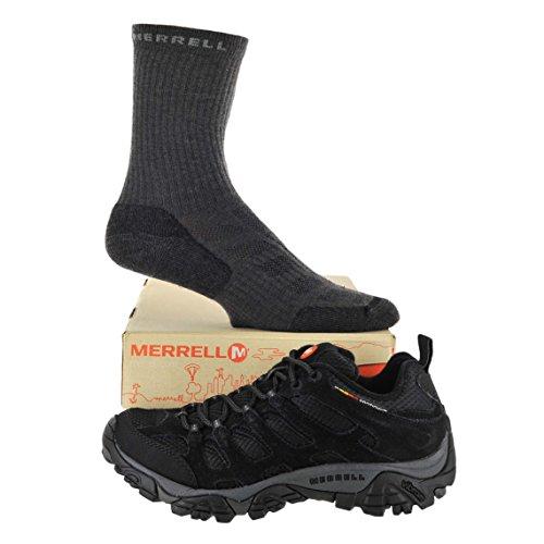 Merrell Men's Moab Ventilator Shoe with Merrell Quarter Socks Bundle (7 D (M) US, Black Night)