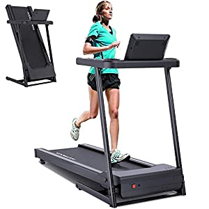"""YODIMAN Folding Treadmill Electric Running Machine with 16"""" Wide Tread Belt/LCD Display/Cup Holder, Easy Assembly for Home Use"""