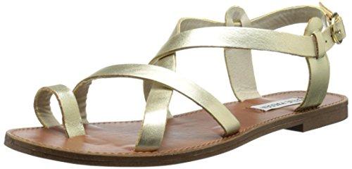 Steve Madden Women's Agathist Gladiator Sandal, Gold Leather, 7.5 M - Madden Gold Steve