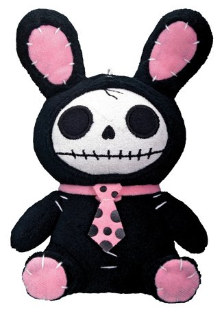 Bunny Furry Bones Plush Stuffed Animal Doll, Black and Pink Collectible