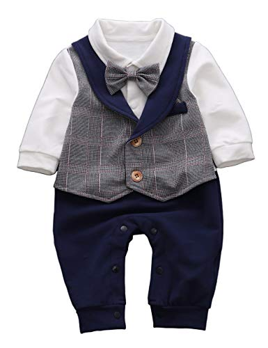 HMD Baby Boy Long Sleeve Gentleman White Shirt Waistcoat Bowtie Tuxedo Onesie Jumpsuit Overall Romper (Blue, 0-3 M)
