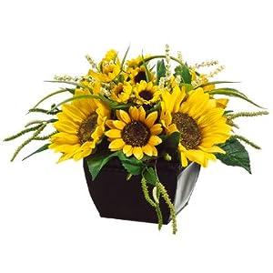"""9"""" Hx14 W Sunflower & Amaranthus Silk Flower Arrangement -Yellow/Green 108"""