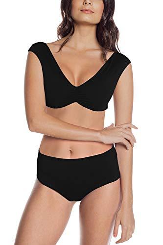 (LaSuiveur Women 2 Piece Wide Straps Tie Back Bikini Top High Waist Swimsuit Black M)
