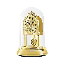 CAO-Decor Stylish Rhythm Mantel Clock, Crystals Mantel Clocks, Tone Mantel Clock, Gold Gilt with Rotating Pendulum, Quartz Silent Desk Table Shelf Clock,17.510.8cm