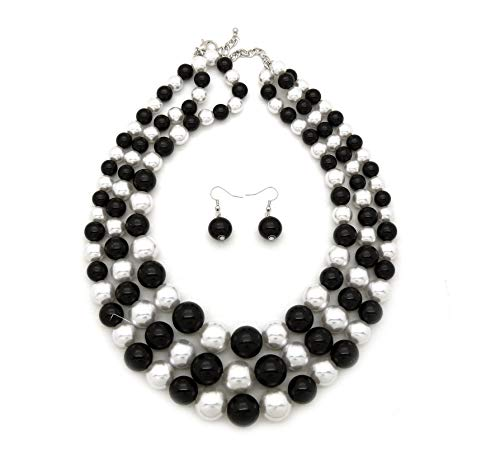 (Women's Simulated Faux Three Multi-Strand Pearl Statement Necklace and Earrings Set (Black +)