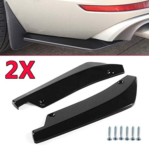 - A Pair Universal Rear Bumper Lip Angle Splitters Diffuser Decorative Protection Bright Black Winglets Side Skirt Extensions