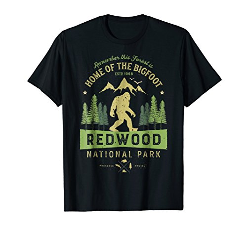 Redwood National Park T Shirt Vintage California Bigfoot Tee (Redwood Parka)