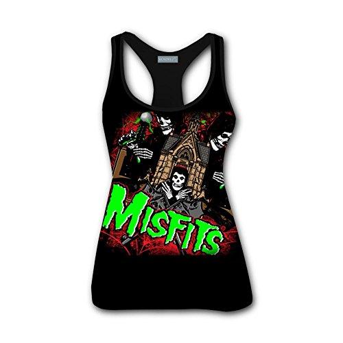 TMNJSJ Women's Classic T-Shirt Misfits Skull Logo 3D Print Short Sleeve