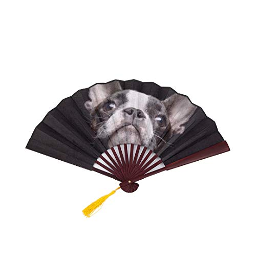(SGFDH Hand Fan Women Boston Terrier Dog Portrait with Bamboo Frame Tassel Pendant and Cloth Bag Japanese Folding Fan Chinese Fan for Men Bamboo)