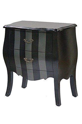Heather Ann Creations Bombay Series Premium Wood 2 Drawer Bombay Shaped Storage Cabinet, Black/Gray Stripe ()