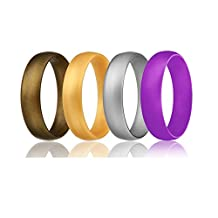 Silicone Wedding Ring for Women, Rubber Engagement Bands, Yoga, Pilates, Fitness, Training, Crossfit Silicone Rings 4 Pack, Silver, Gold, Bronze, Purple US sizes 6,7,8,9