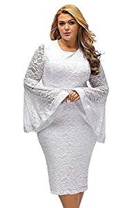 Women Plus Size White Lace Dress Formal Floral Bell Sleeve Cocktail for Mother