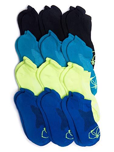 (Kalon 12 Pack Women's Low Cut Tab Socks (Medium 6-9.5, Black/Blue/Teal/Lime))