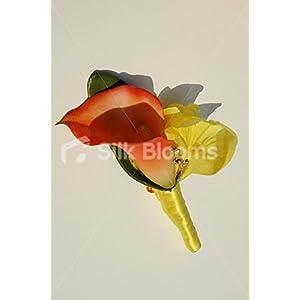 Bright Orange Calla Lily & Yellow Iris Buttonhole w/ Crystal Pin 7
