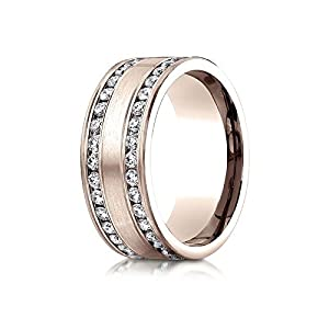 14k Rose Gold 8mm Comfort-Fit Double Row Channel Set 32-Stone Channel Diamond Ring (.64ct) - Size 7