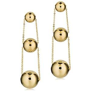 14k Yellow Graduated Ball Drop Earrings