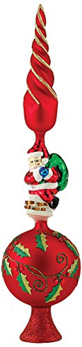 Kurt Adler Glass Santa Claus Design Treetop, 16-Inch best Christmas tree topper