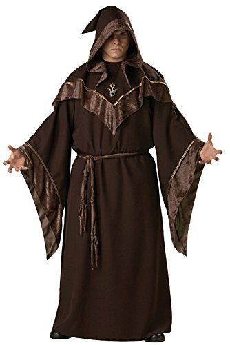 Friar Priest Hooded Costume Adult Religious Godfather wizard Robe (Religious Costumes For Adults)