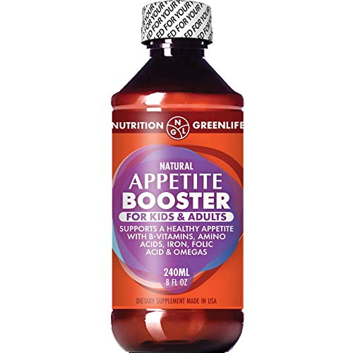 Appetite Booster Weight Gain Stimulant Supplement Eat More for Underweight Kids & Adults Fortified with Omega 3,6,9 + Vitamins B1,B2,B3,B5,B6,B12, Folic Acid, Iron, Zinc, Amino Acids, Flax Seed Oil
