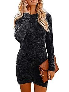 CNJFJ Womens Bodycon Mini Dresses Elegant Stretchy Long Sleeve T Shirt Short Club Dress