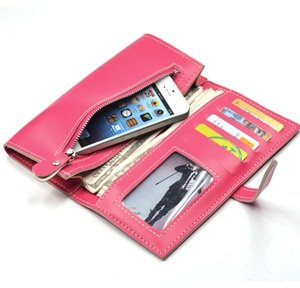 KLOUD City® Hot Pink synthetic leather women wallet with a belt closure