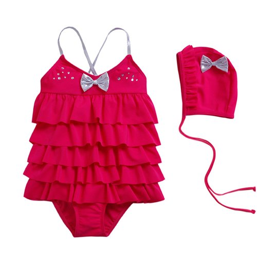 6a1fccb77d Vivo-biniya Kid Girls One-piece Swimsuits and Caps Pleated - Import It ...