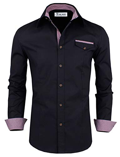 TAM WARE Mens Premium Casual Inner Contrast Dress Shirt TWNMS310S-1-312N-BLACK-US M