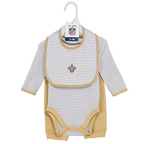 "NFL Newborn""Interception"" Onesie, Bib & Pant Set, New Orleans Saints, Black, 6 Months"
