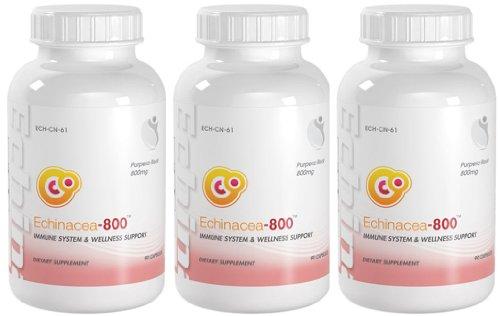Echinacea-800 Système immunitaire & Welness soutien Echinacea 800mg 270 Capsules 3 bouteilles