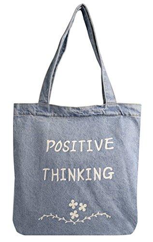 Peach Couture Denim Reusable Cotton Canvas Zipper Tote Laptop Beach Handbags Womens Mens Shoulder Bags (Positive Thinking Denim)