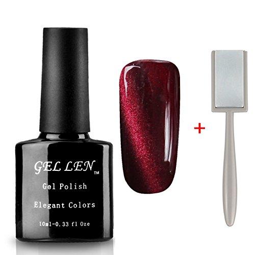 Gellen Cat Eye UV LED Gellack Gel Nagellack UV-Lack LED-Lack auflösbarer Farblack 10ml + Eisen-Magnet #65 dunkelrot