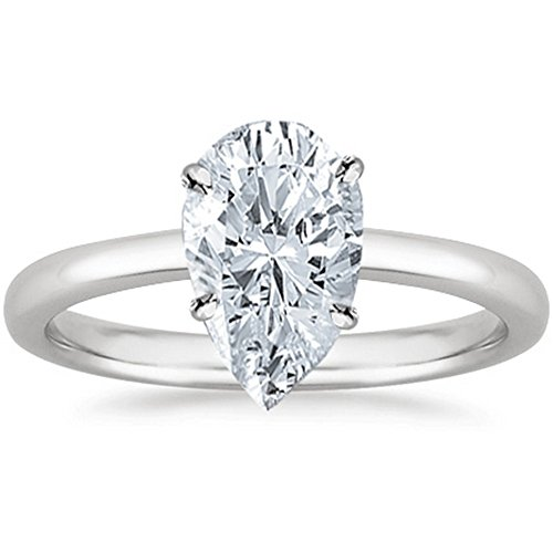 1 Carat GIA Certified 14K White Gold Solitaire Pear Cut Diamond Engagement Ring (1 Ct I-J Color, SI1-SI2 Clarity)