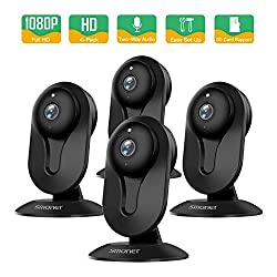 Smonet Security Camera Wireless Home Security Ip Camera With Two Way Audio Night Vision Full Hd 1080p 2 0 Mega Pixel Indoor Surveillance Camera For Elder Baby Nanny Pet Monitor Black 4packs