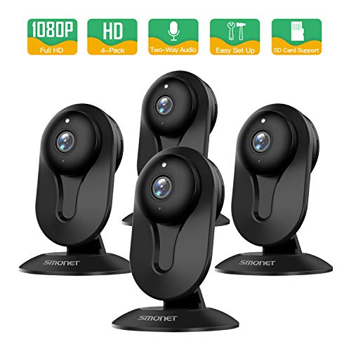SMONET Security Camera Wireless, Home Security IP Camera with Two-Way Audio, Night Vision, Full HD 1080P 2.0 Mega-Pixel Indoor Surveillance Camera for Elder/Baby/Nanny/Pet Monitor (Black, 4Packs)