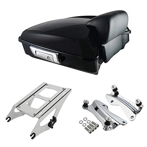 XMT-MOTO Vivid Black Chopped Tour-Pak Luggage Kit w/Small Backrest Pad fits for Harley Davidson Touring Models 2014-late,with Chrome Tour Pak Mounting Kit (2014 Harley Davidson Street Glide Tour Pack)