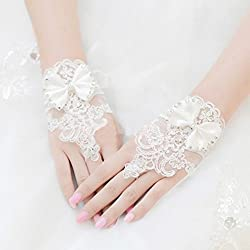Sunward Bridal Gloves Wrist Flower Lace Diamond Wedding Gloves Dress Short Paragraph Mitts