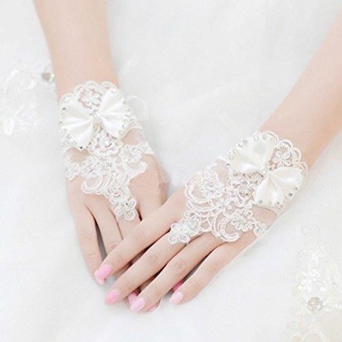 Sunward Bridal Gloves Wrist Flower Lace Diamond Wedding Gloves Dress Short Paragraph Mitts (Girl Bridals Flower Dress Romantic)