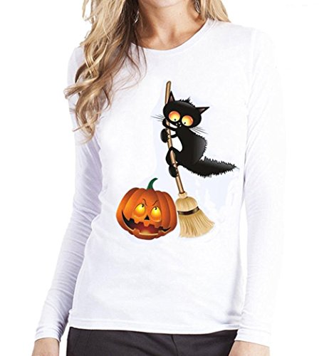 Halloween Blouses,Gillberry Plus Size Black Cat and Pumpkin Printing Long Sleeve T Shirt Blouse (Yellow, -