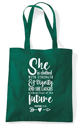 Green Motivational Shopper Dark She Strength With Is Statement Bag Clothed Tote 1FqAv