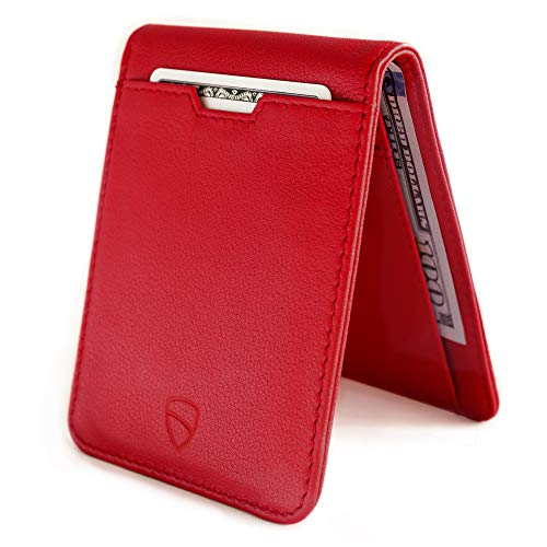 (Vaultskin MANHATTAN Slim Bifold Wallet with RFID Protection for Cards and Cash (Carmine)