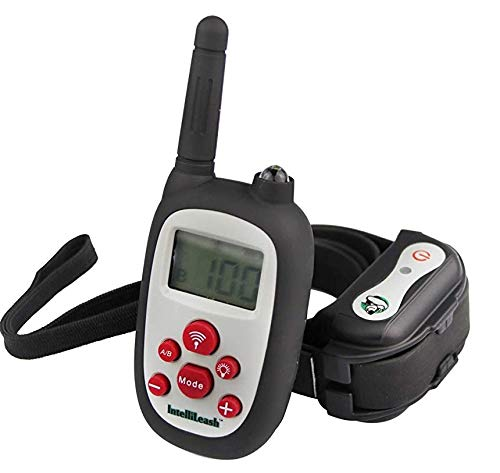Intellileash Soft-Touch LCD Dog Training Collar Kit, Waterproof and Rechargeable with a 1000ft Range - Includes:Tone, Light, Vibration, and Static Shock Stimulation Options