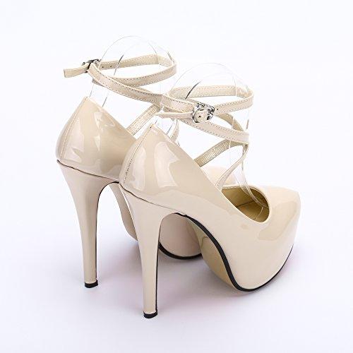 Stiletto Tallone Beige Partito Da Piattaforma Del Vestito Caviglia Cinturino Pu beige Donne 10 Alla Pompa Della Esclusiva Del IqxpR