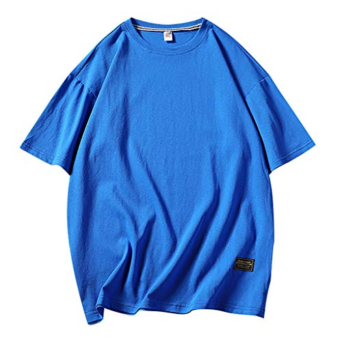 Mens Summer Casual Loose Pure O-Neck Fashion Short Sleeves T-Shirts Top Blouse 9 Colors Blue ()
