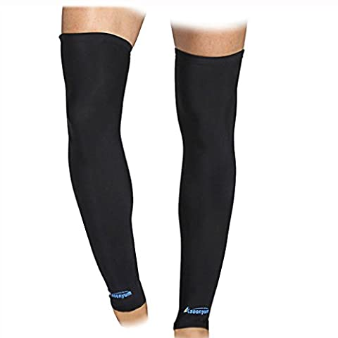 Compression Leg Sleeve - ASOONYUM Sports Shin Calf Compression Sleeves Socks for Shin Splints Arthritis Men Women - Basketball, Running, Football Knee Brace Support With Silicone Anti-Slip - Over Calf Support