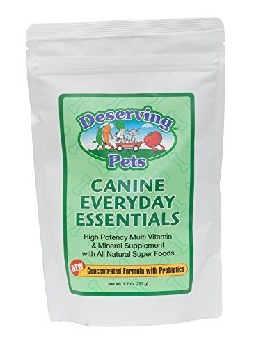 Canine Everyday Essentials 60 Day Supply Vital Vities - High Potency Multi-vitamin & Mineral Supplement for Dogs with All Natural Super Food, Vitamins, Minerals, Phytonutrients, Probiotics, Prebiotics, Liver Flavoring by Deserving Pets